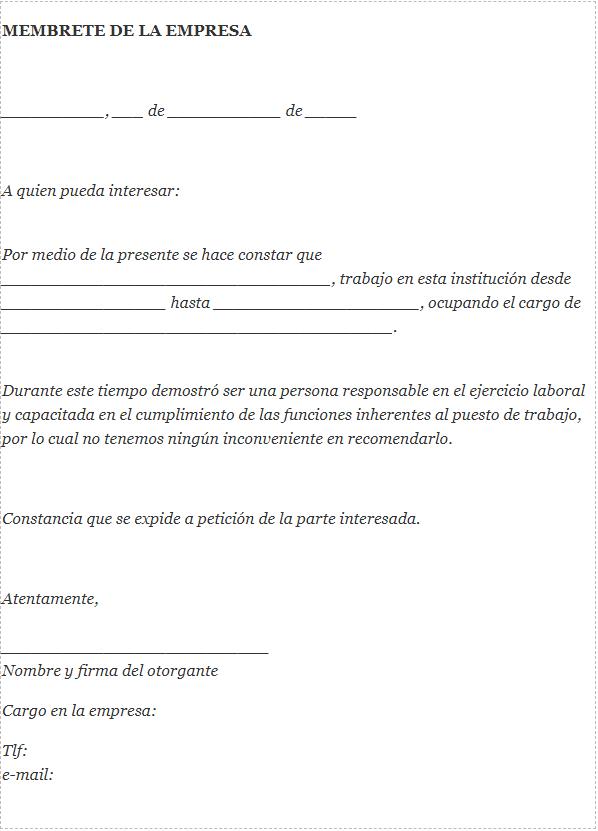Carta de recomendación